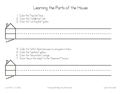 Kindergarten program ez write 4 beginning lessons these lessons teach the parts of the house for letter placement ex put your pencil on the top line go down to the writing line ibookread ePUb